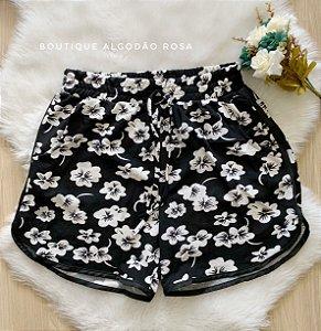 Short Preto Flores Branca