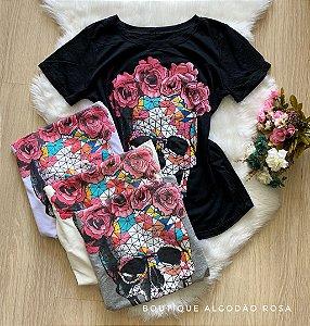 T-shirt caveiras colorida
