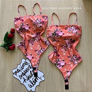 Body reto salmão flores