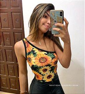Body Uni Alça Girassol
