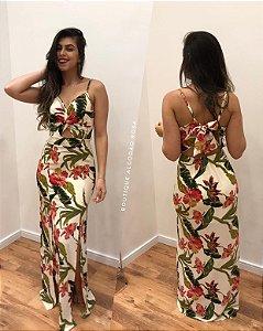 Vestido fenda flores