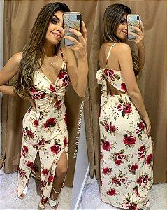 Vestido Flores fenda