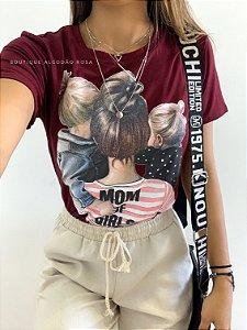 T-shirt Vinho Mãe de Menina