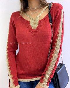 Blusa Vermelha Com Dourado