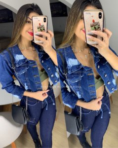 Jaquetinha Jeans Escura