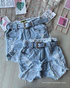 Short Cintinho Jeans Claro