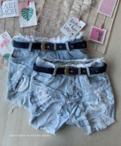 Short Cinto Jeans Escuro
