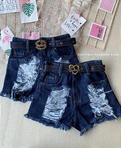 Short Cintinho Jeans Escuro
