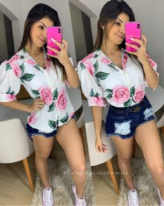 Camisa Flores Rosa