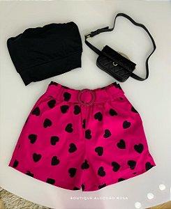 Short Corações Rosa Pink