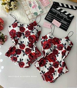 Body Alcinha Rosas Branco
