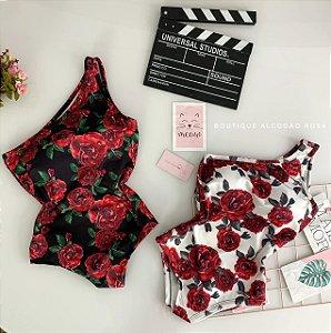 Body Alça Unica Rosas Vermelhas
