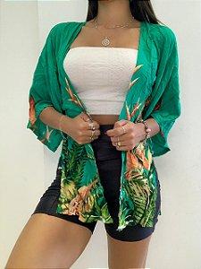Kimono Verde Folhas