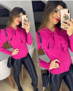 Blusa Rosa Laço