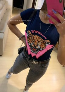 T-shirt Tigre Azul Marinho