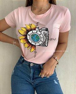 T-shirt Girassol Rosa
