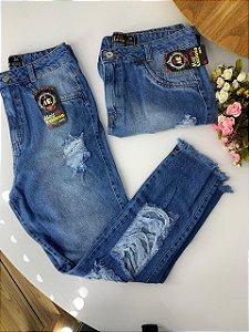 Calça Rasgos Jeans Escuro