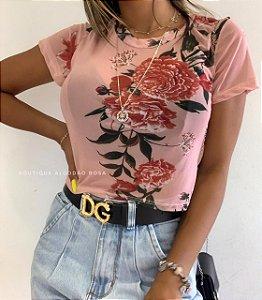 Cropped Tule Flores Rosa