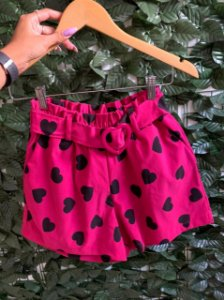 Short Coração Pink