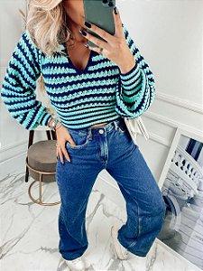 Blusa Listras Azul