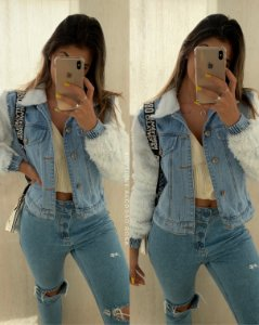 Jaqueta Jeans Pelinhos
