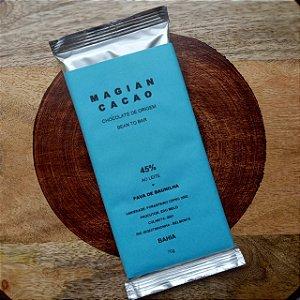 Barra de Chocolate 45% Cacau ao Leite + Fava de Baunilha - Magian Cacao