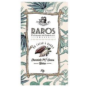 Barra de Chocolate 74% Cacau Origem Bahia - Raros Fazedores de Chocolate