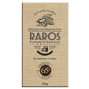 Barra de Chocolate 65% Cacau com pedaços de café do Sul de Minas Raros Fazedores de Chocolate