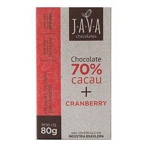 Barra de Chocolate 70% Cacau com Cranberry - Java Chocolates
