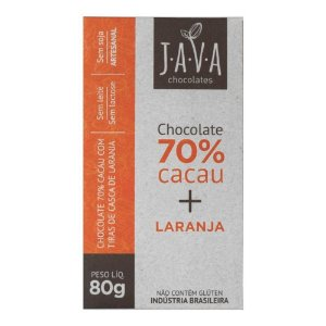 Barra de Chocolate 70% Cacau com Laranja - Java Chocolates