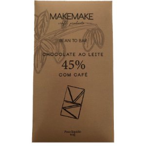 BARRA DE CHOCOLATE 45% CACAU AO LEITE COM CAFÉ - MAKE MAKE