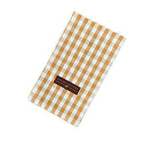 Sacolinha de Tecido para Presente Xadrez Branco e Laranja - Cacau Tasters