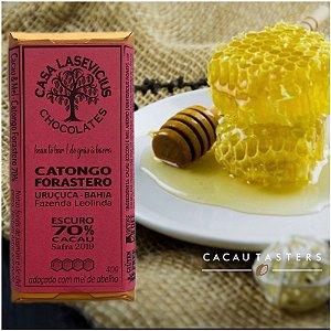 Barra de Chocolate 70% Cacau Catongo Forasteiro Adoçado com Mel - Casa Lasevicius Chocolates