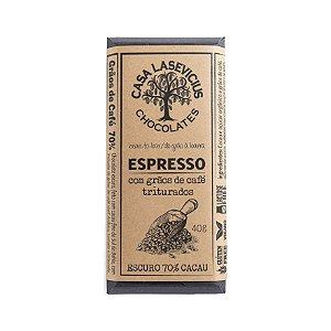 Barra de Chocolate Espresso 70% Cacau com Grãos de Café Triturados - Casa Lasevicius Chocolates
