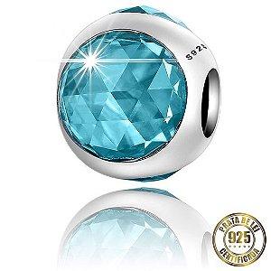 Berloque Gota de Cristal Azul Claro