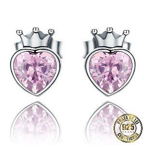 Brincos de Prata Coração de Princesa