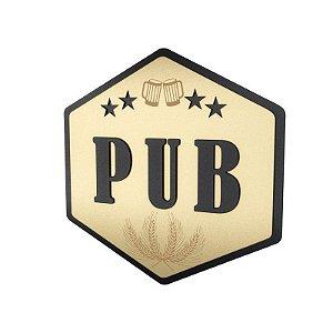 Placa Laqueada em Relevo Pub
