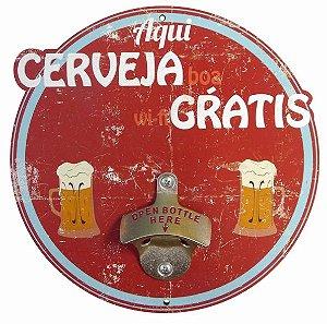 Abridor de Garrafas Parede Cerveja Grátis