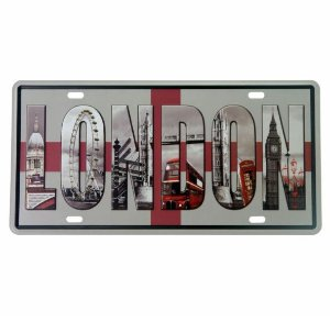 Placa de Metal Relevo London