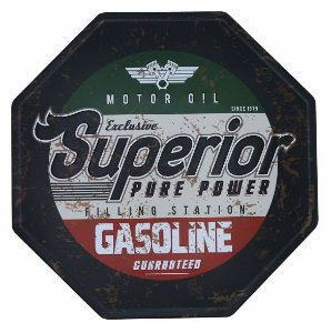 Placa de Metal Relevo Retrô Superior Gasoline