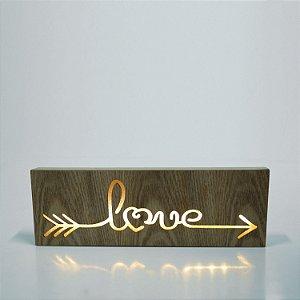 Caixa Luminosa Madeira Love Marrom 30 X 3,5 X 10 Cm