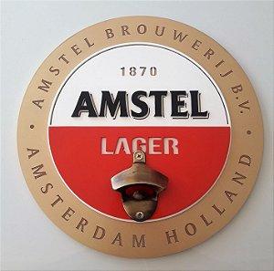 Quadro Abridor de Garrafas Cerveja Amstel