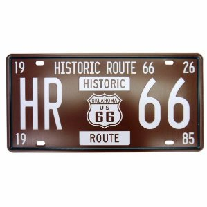 Placa Metal Route 66 Historic