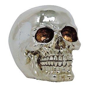 Crânio Caveira Resina Cromada