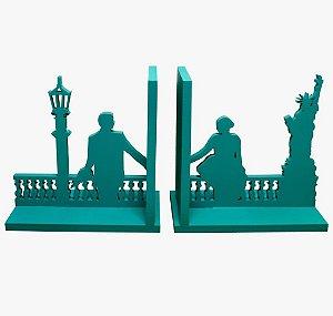 Aparador de Livro New York Azul Laqueado Mdf