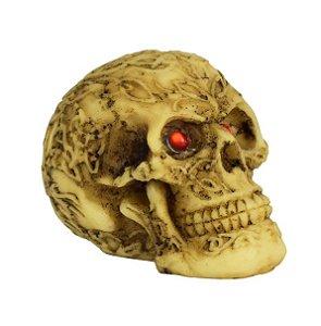 Mini Crânio Caveira Resina Olhos Vermelhos