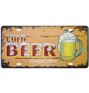 Placa Metal Cold Beer