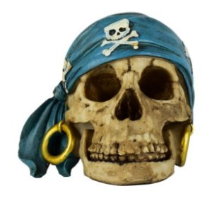 Crânio Caveira Resina Bandana Azul Pirata