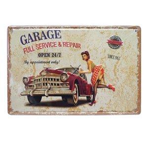 Placa Garage Open Metal Alto Relevo