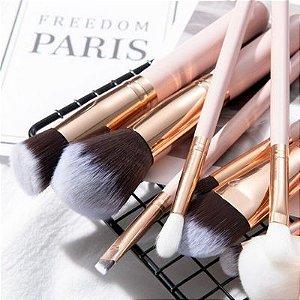 Kit Pincéis 15pçs. para Maquiagem c/ Estojo Organizador